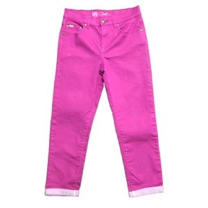 DG2 Magenta Cuffed Cropped Skinny Jeans